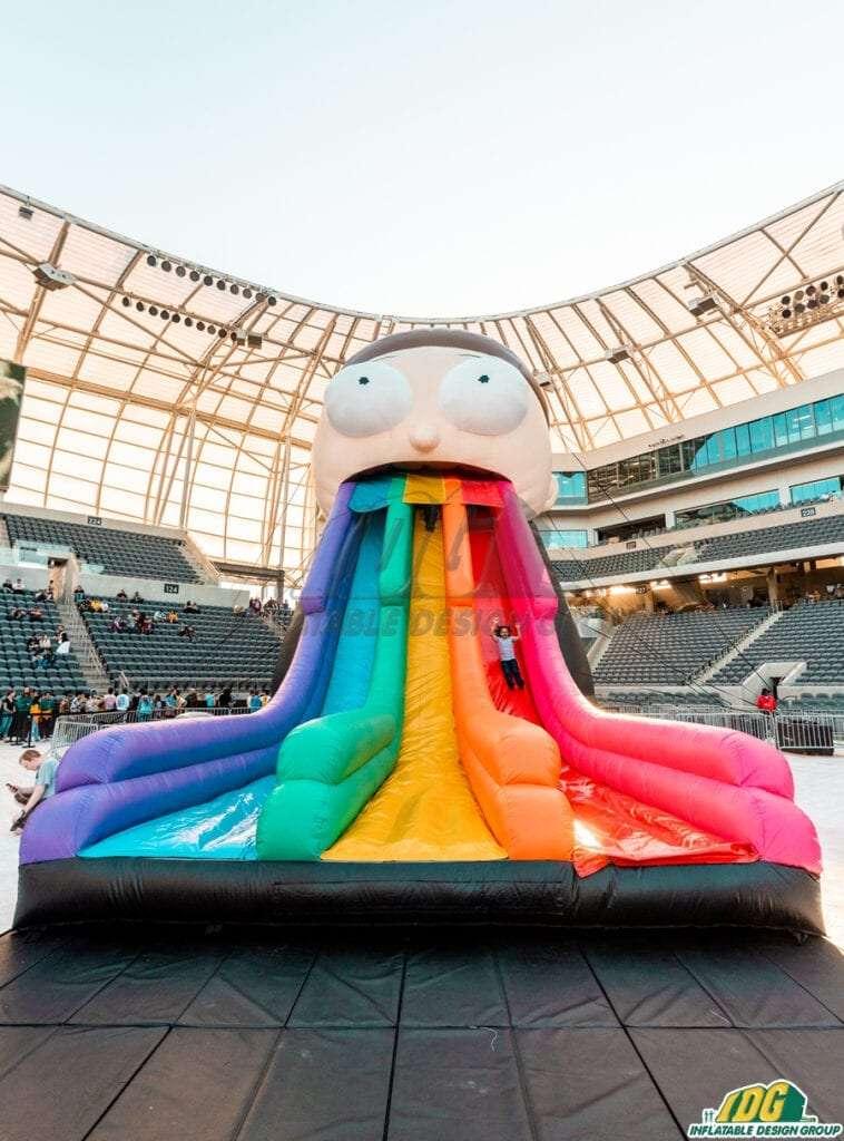 Custom entertainment inflatable Morty slide for Adult Swim Festival